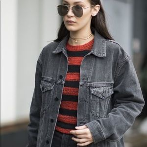 Dark Gray Distressed Denim Jacket